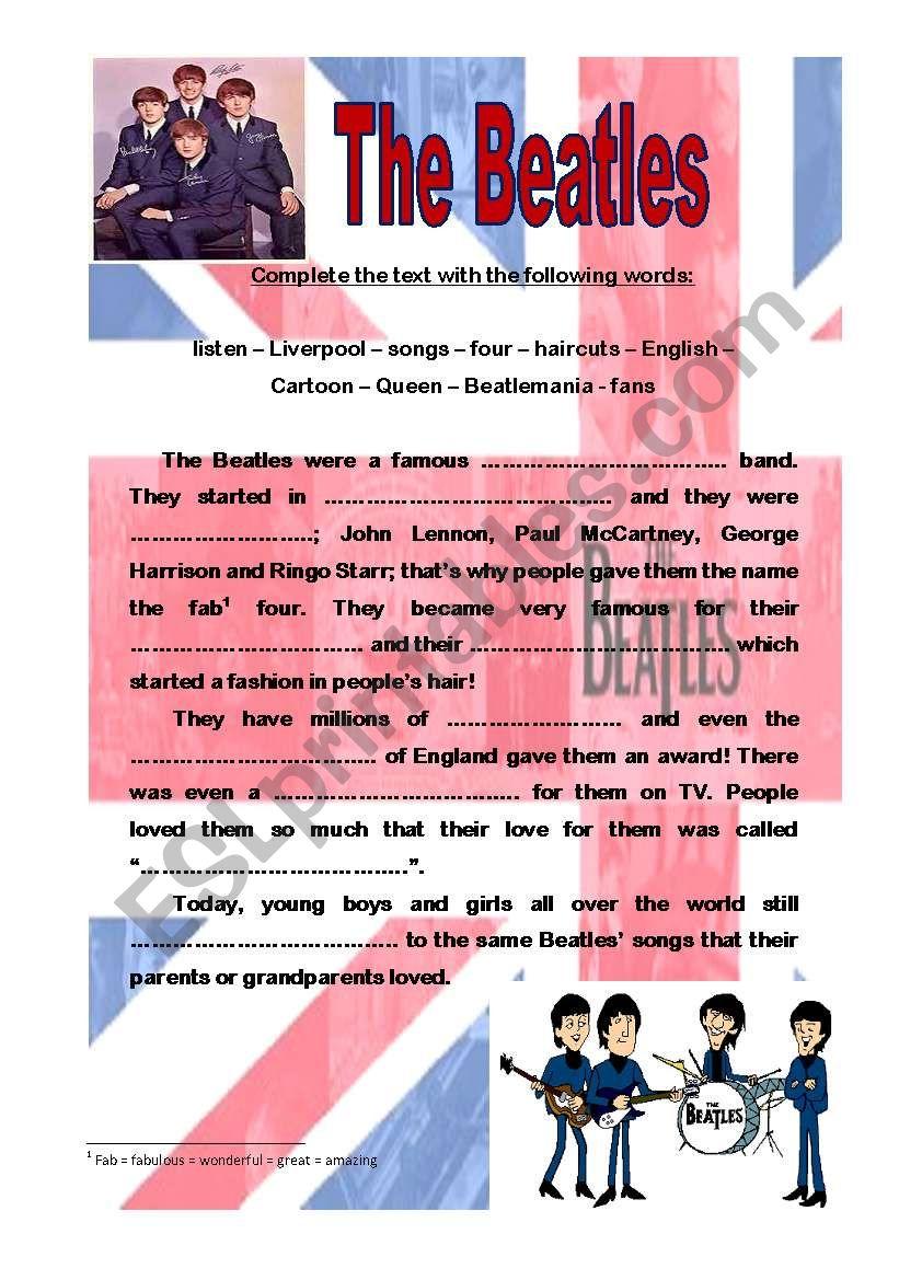 The Beatles, gap filling worksheet