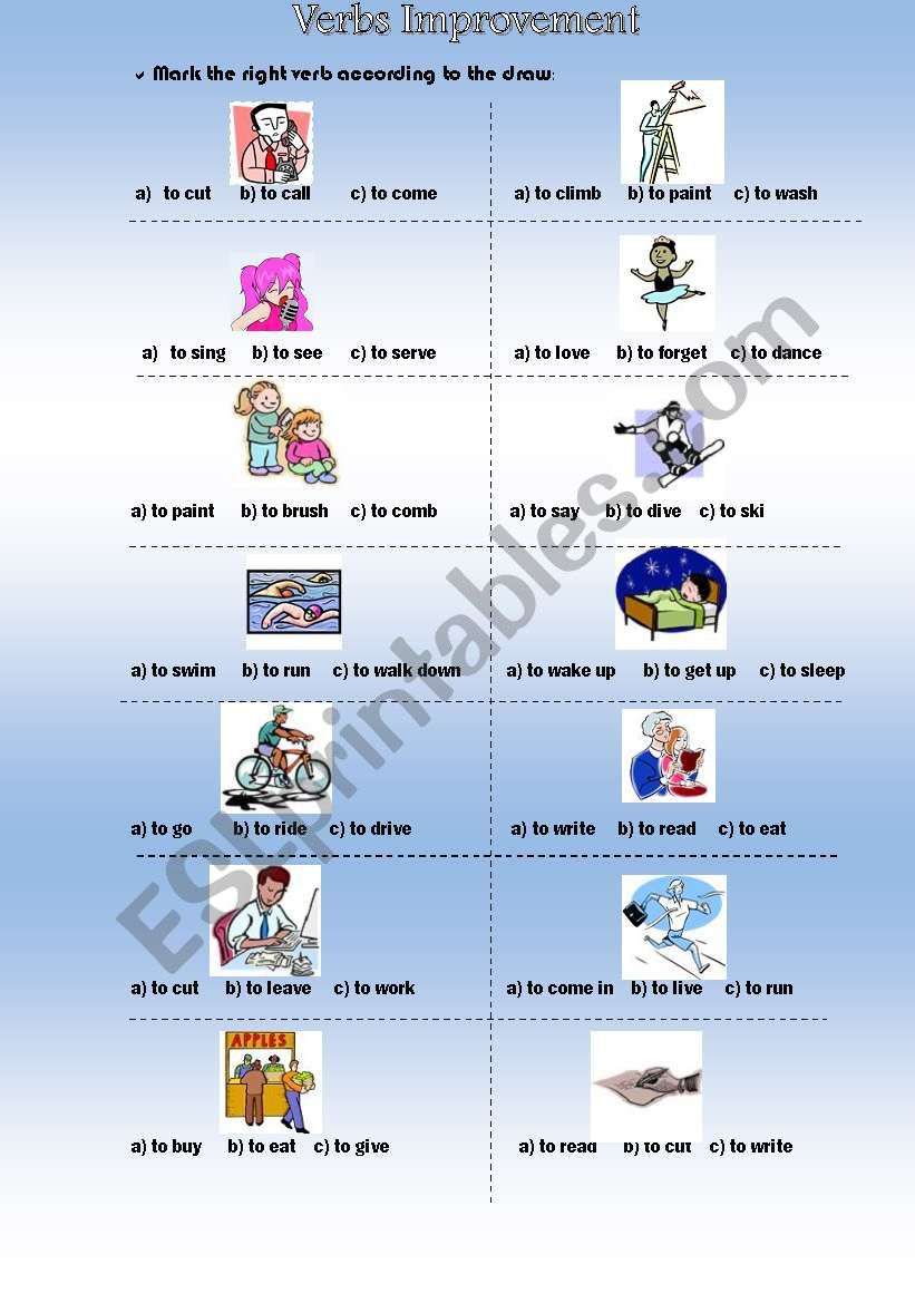 Verbs - Present and Past worksheet