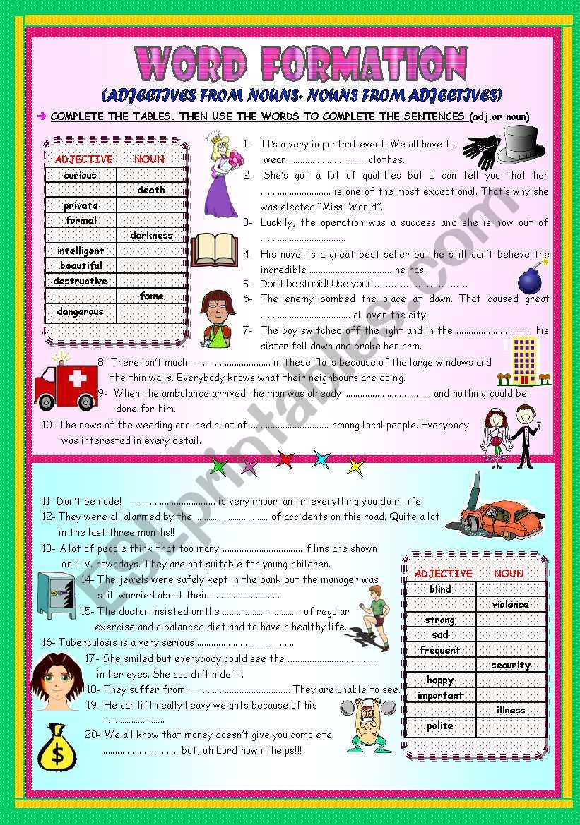 WORD FORMATION: ADJECTIVES FROM NOUNS / NOUNS FROM ADJECTIVES