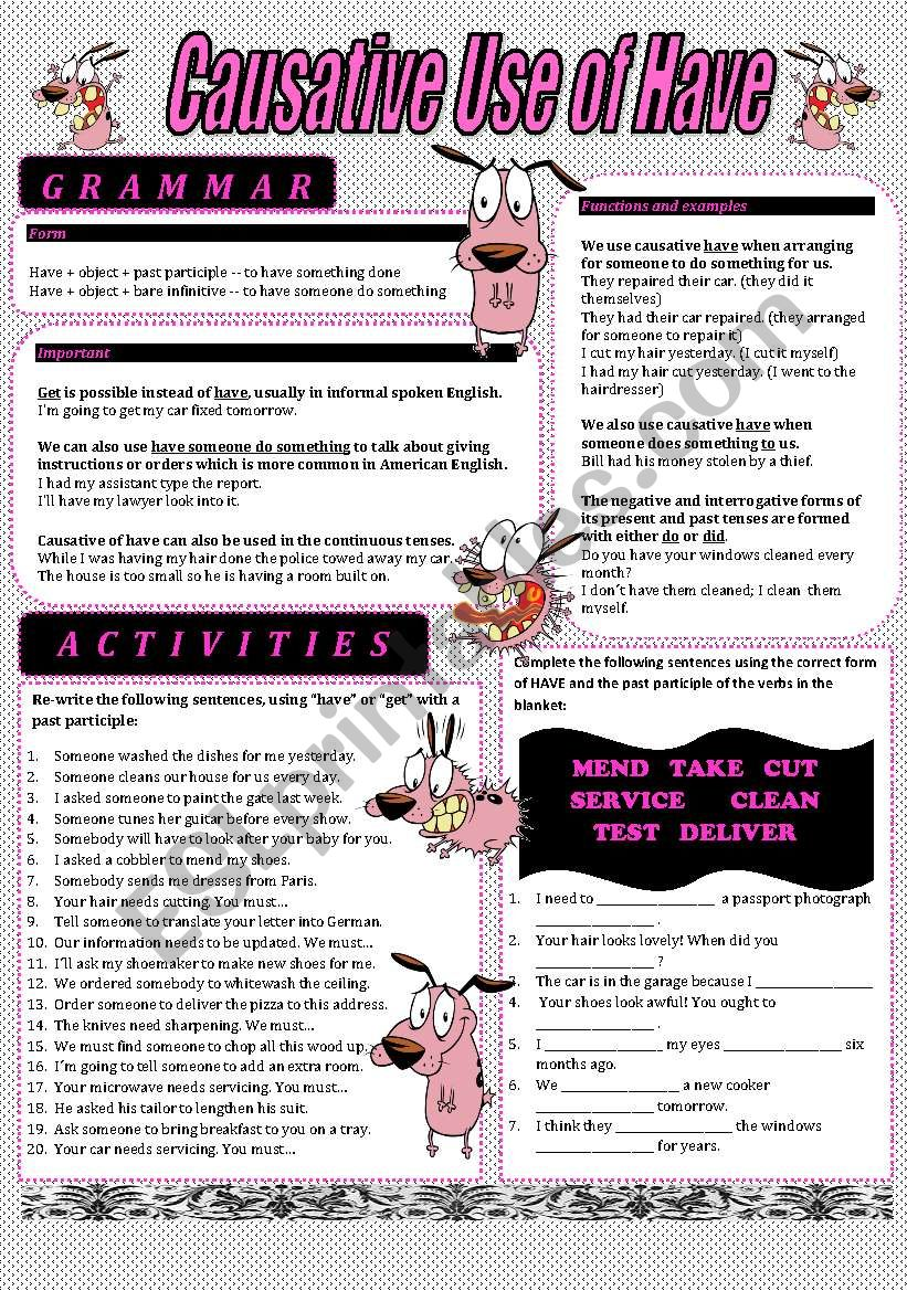 Causative Use of Have - Colour and B&W Worksheet - With answers
