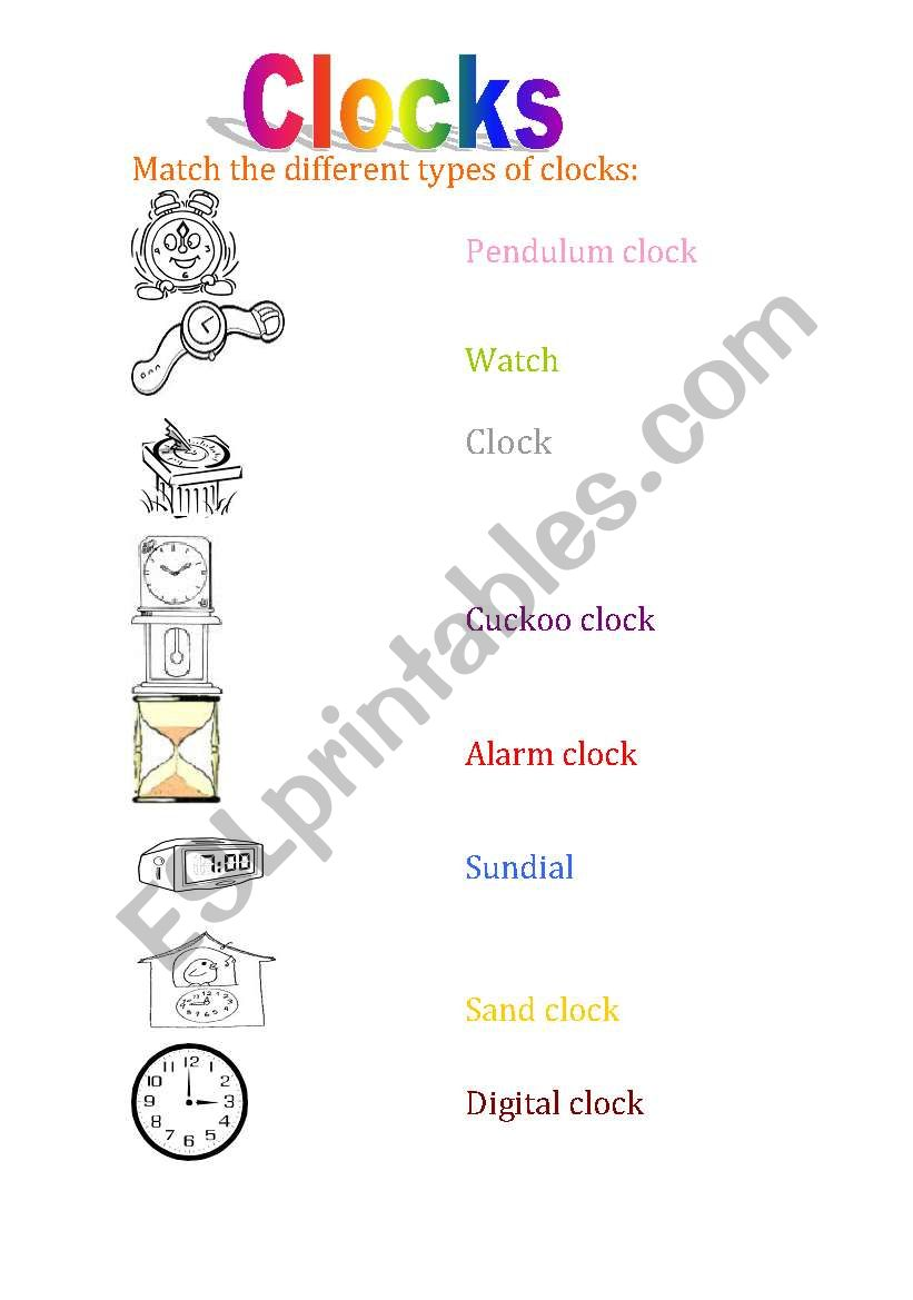 Types Of Clocks Esl Worksheet By Maricholi3333