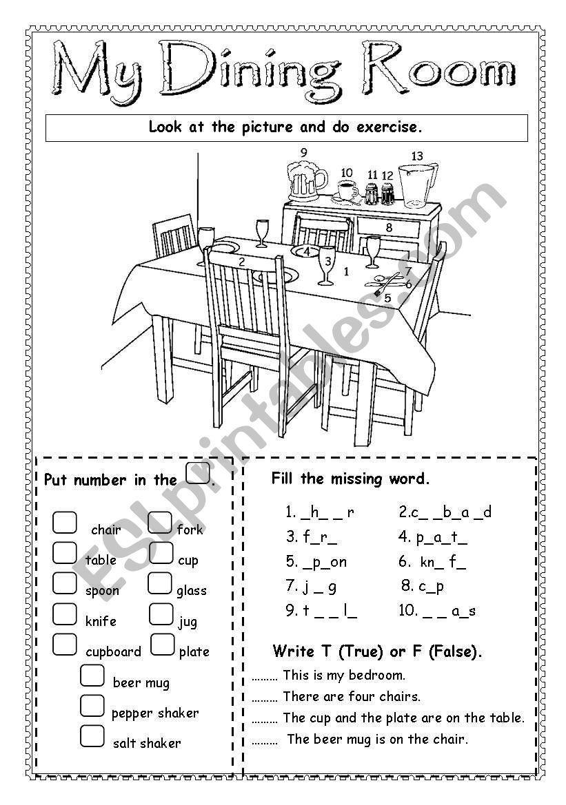 Rooms Worksheet: ESL Worksheet By Saifonduan