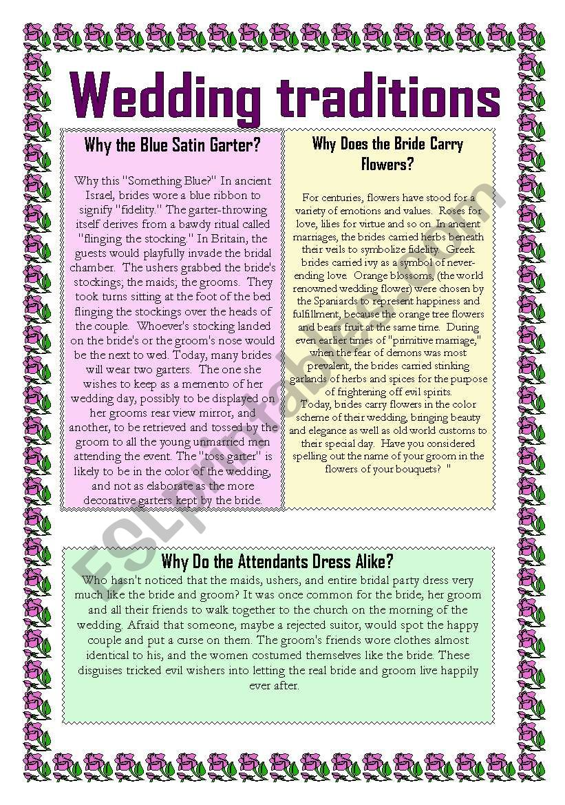 Wedding traditions 2 worksheet