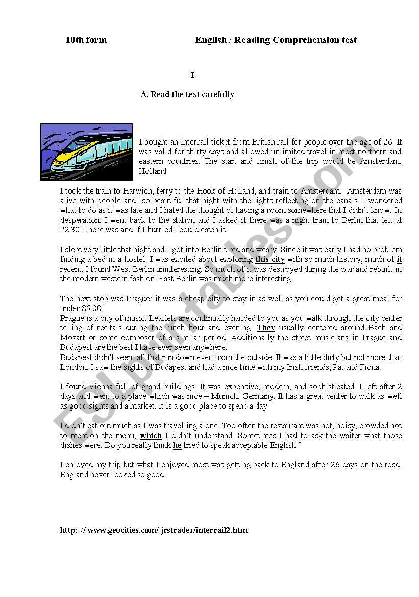 Travelling and Interrail worksheet