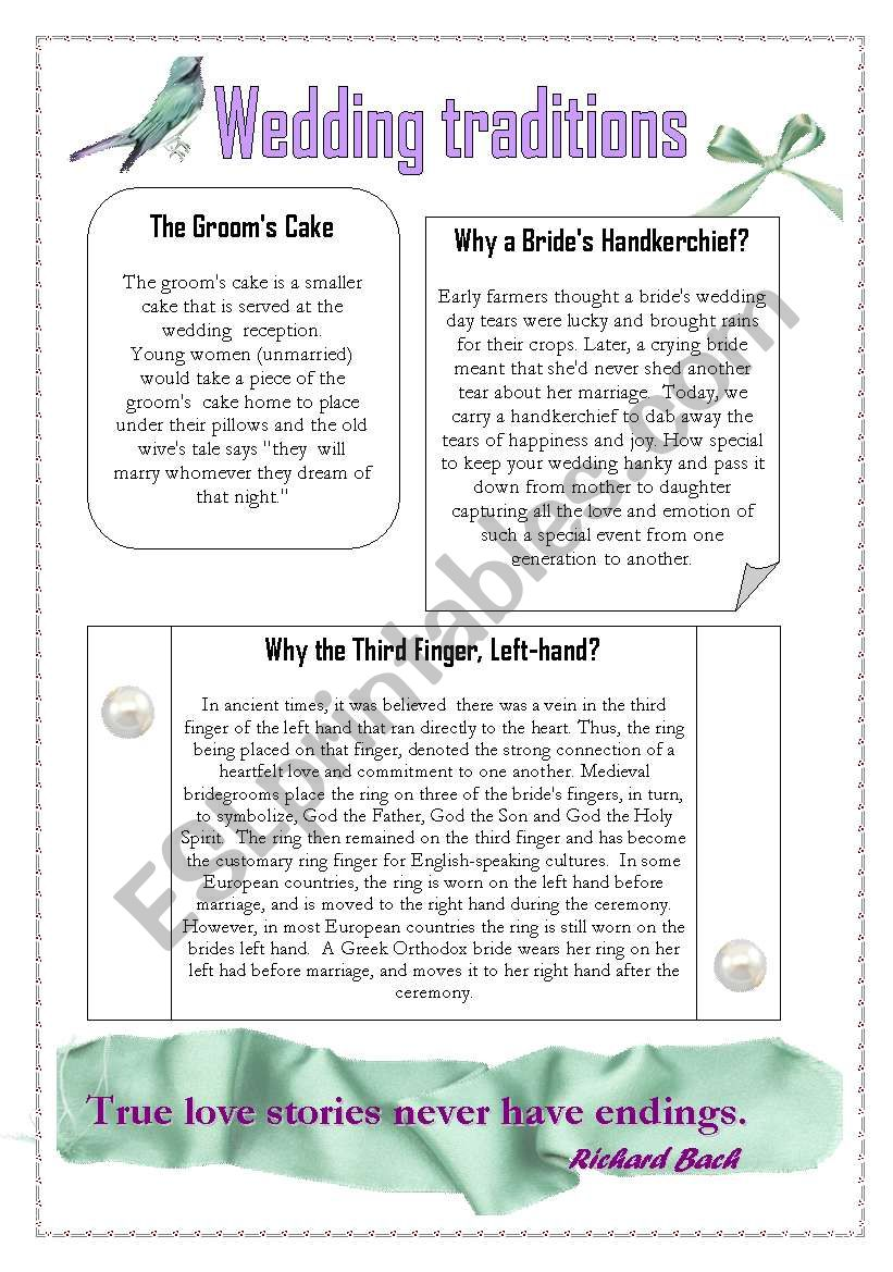 Wedding traditions 3 worksheet