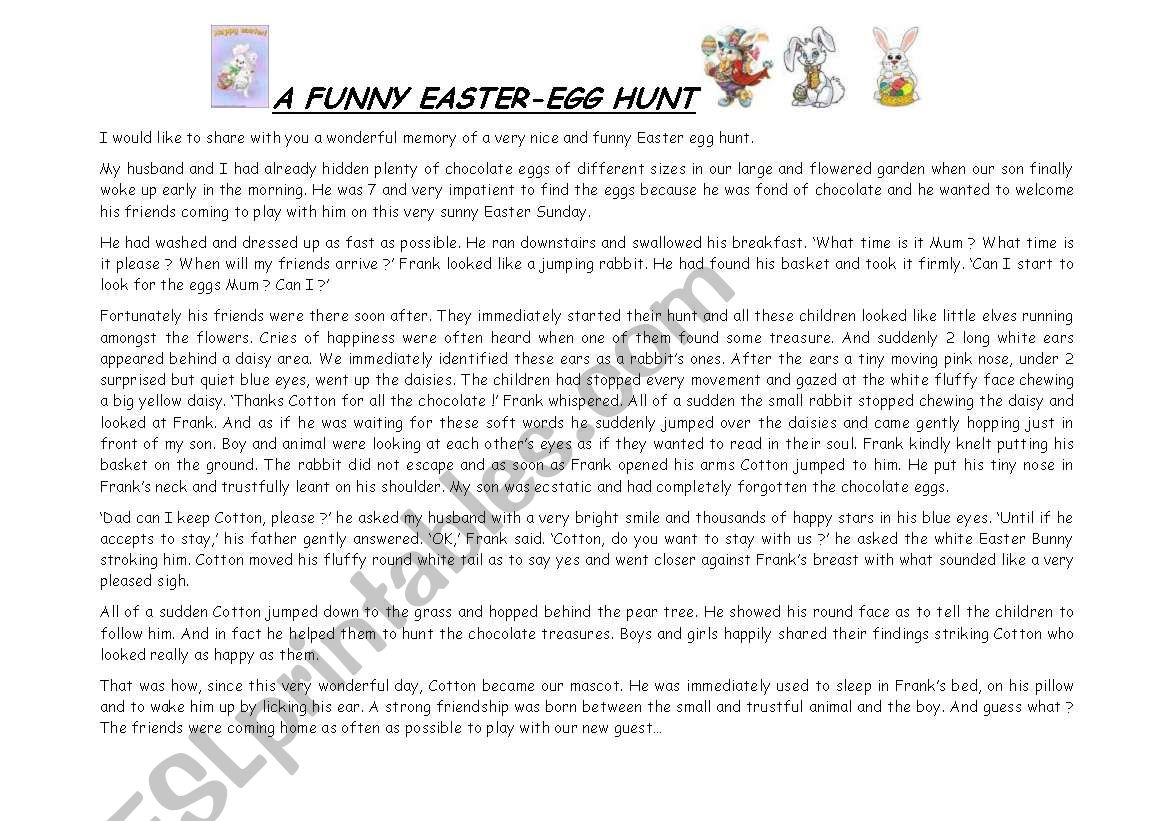 an Easter tale worksheet