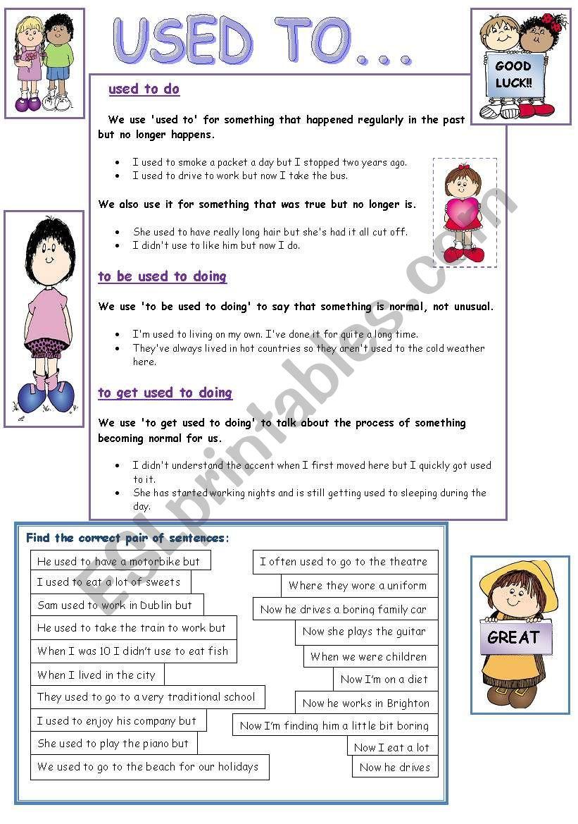 USED TO : GRAMMAR & PRACTICE worksheet