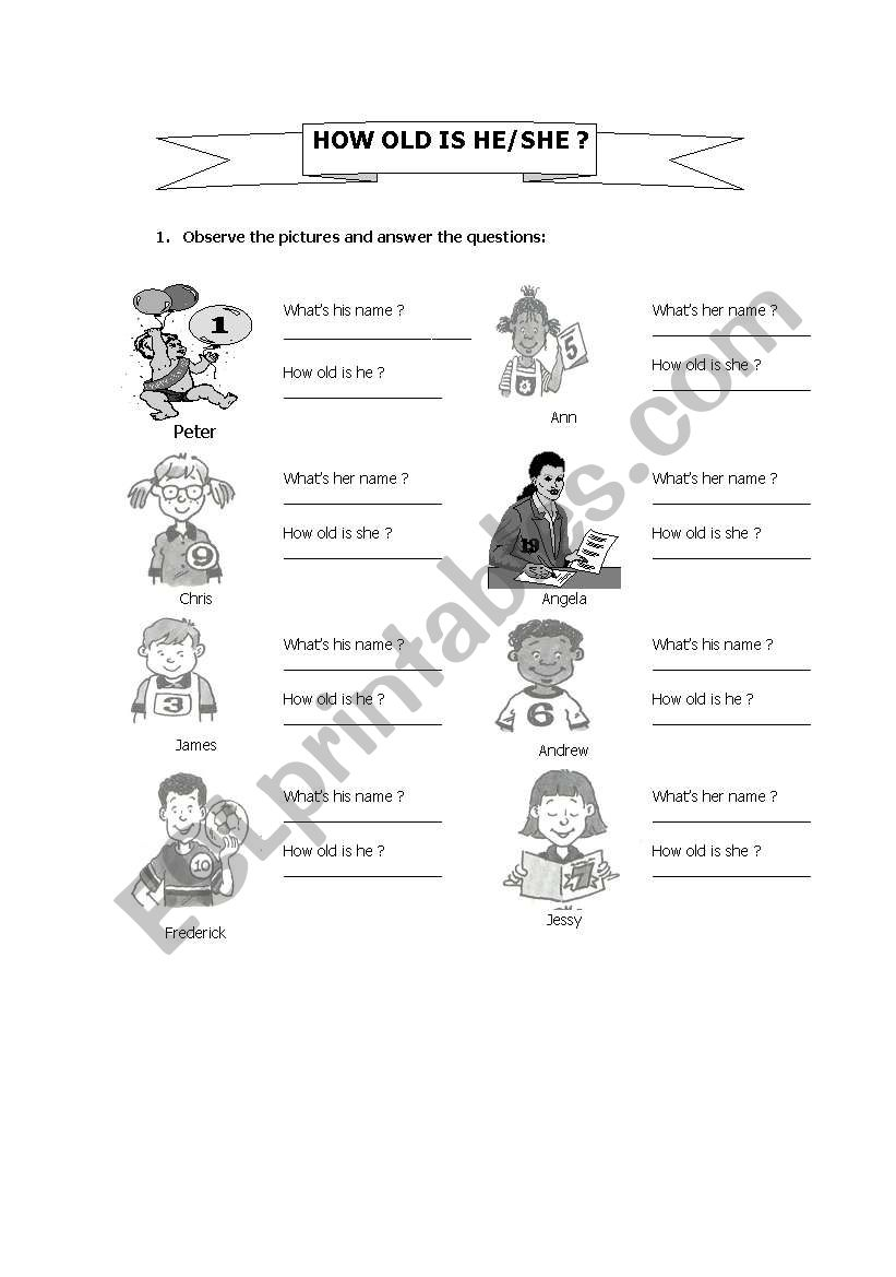 How old is she/ he? worksheet
