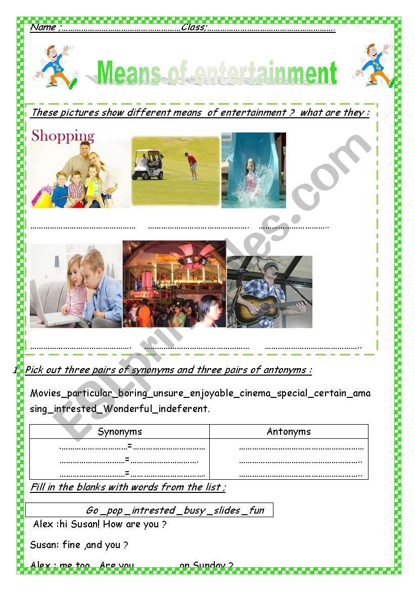 Means Of Entertainment  worksheet