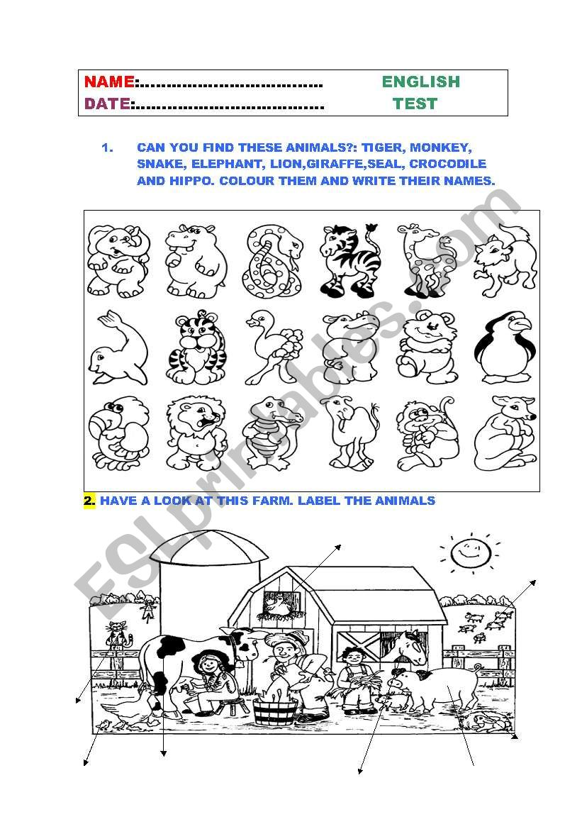 a test for young learners worksheet