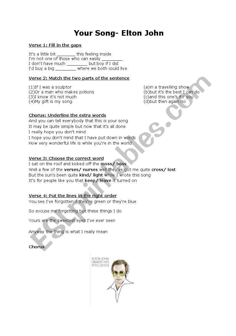 Your Song- Elton John - ESL worksheet by meck
