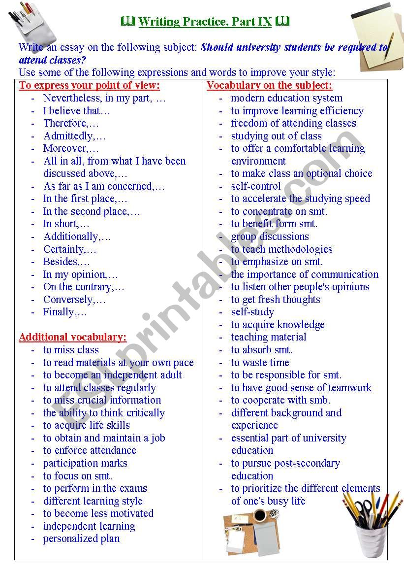 Writing practice for TOEFL/IELTS exams. Useful expressions and vocabulary. Part IX.