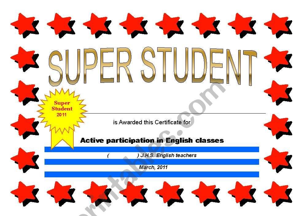 certificate: super student - ESL worksheet by jtet