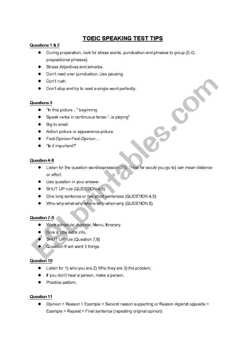 TOEIC Speaking test tips Questions 1-11