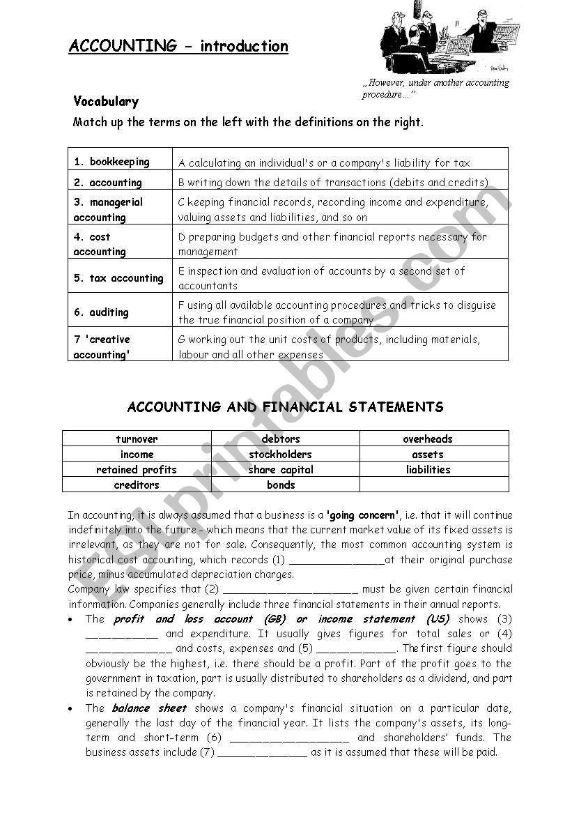 Accounting worksheet