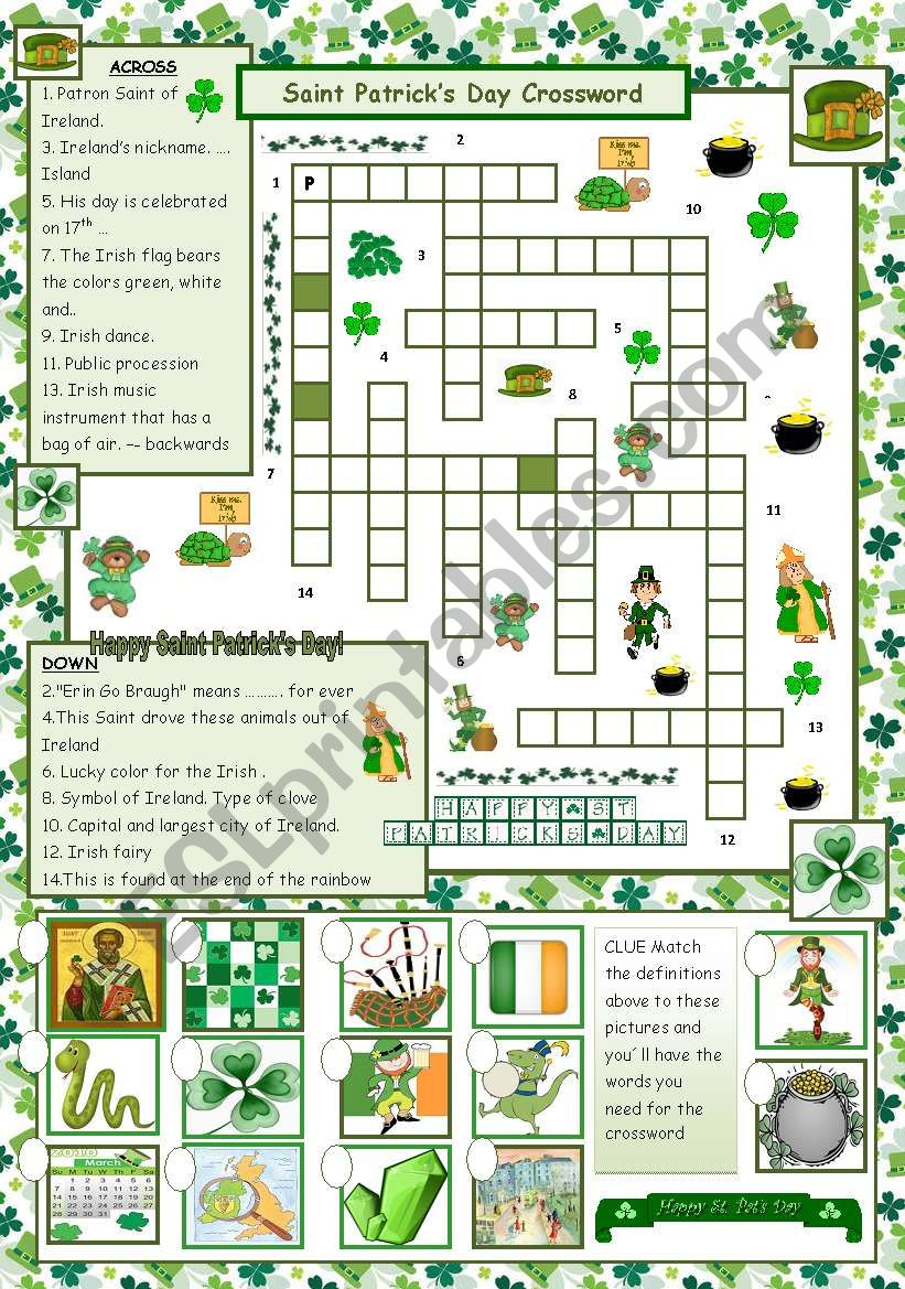 St. Patrick´s Day Crossword - with answers
