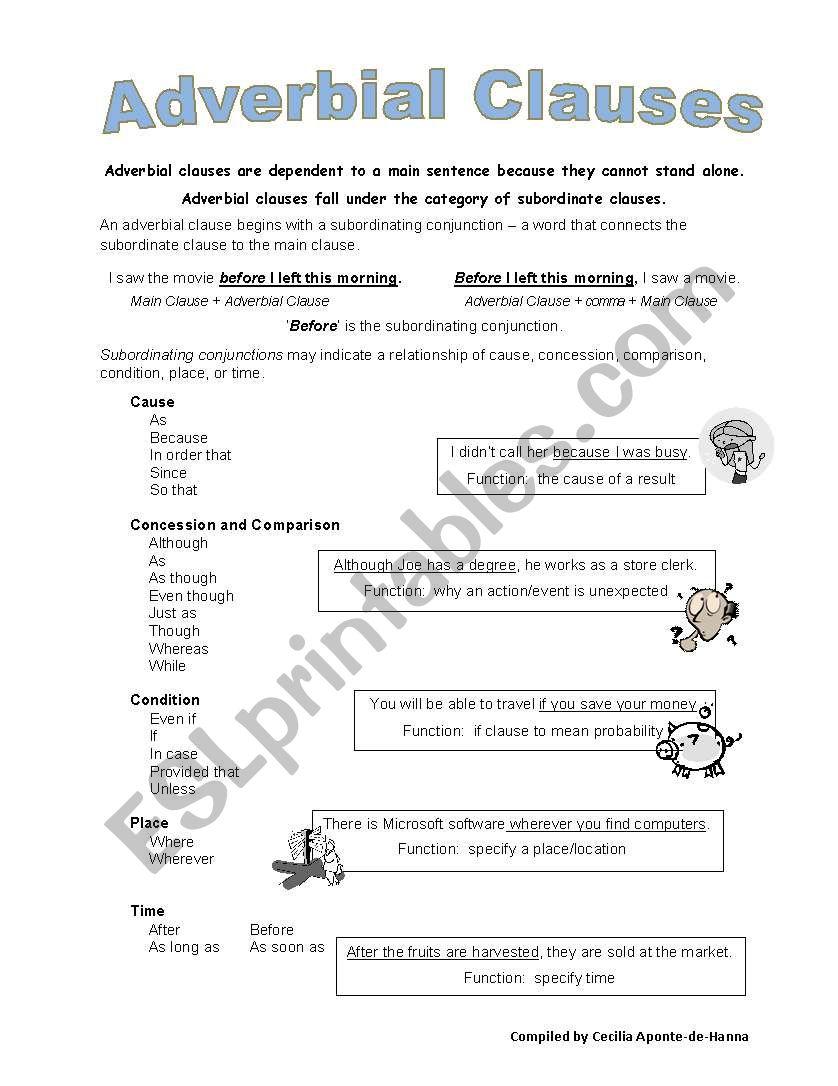 Adverbial Clauses Esl Worksheet By Caponte
