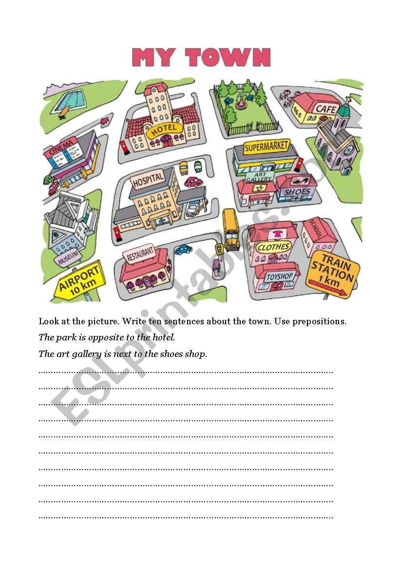 My Town Esl Worksheet By Robirimini