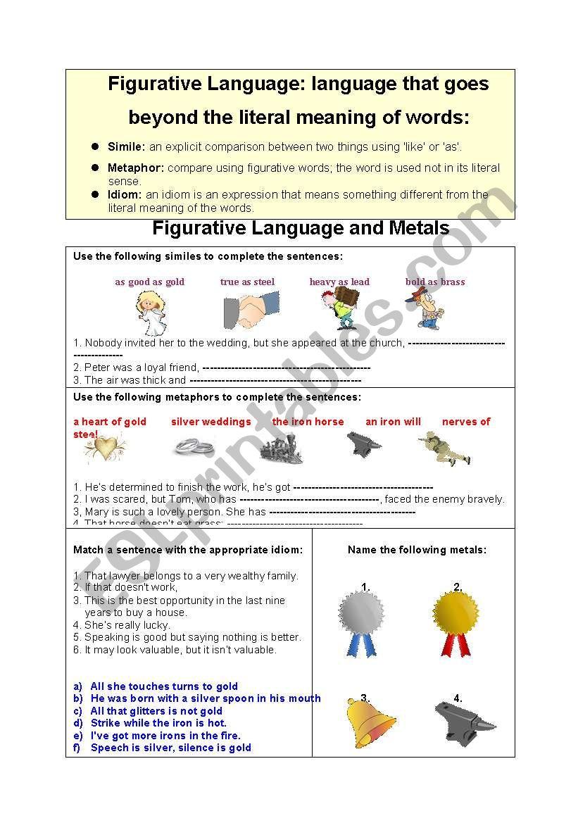 Metals and Figurative Language: metaphors,similes,idioms