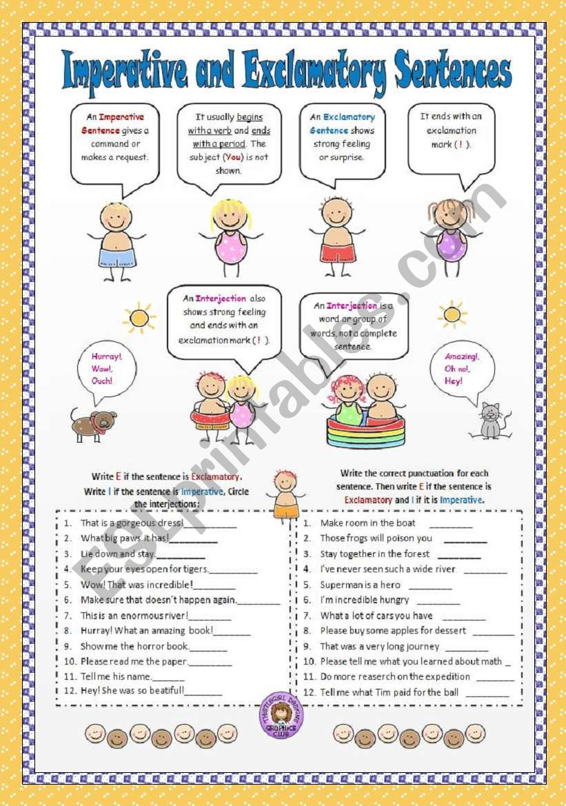 Worksheets Imperative And Exclamatory Sentences Worksheet imperative and exclamatory sentences esl worksheet by vanev sentences