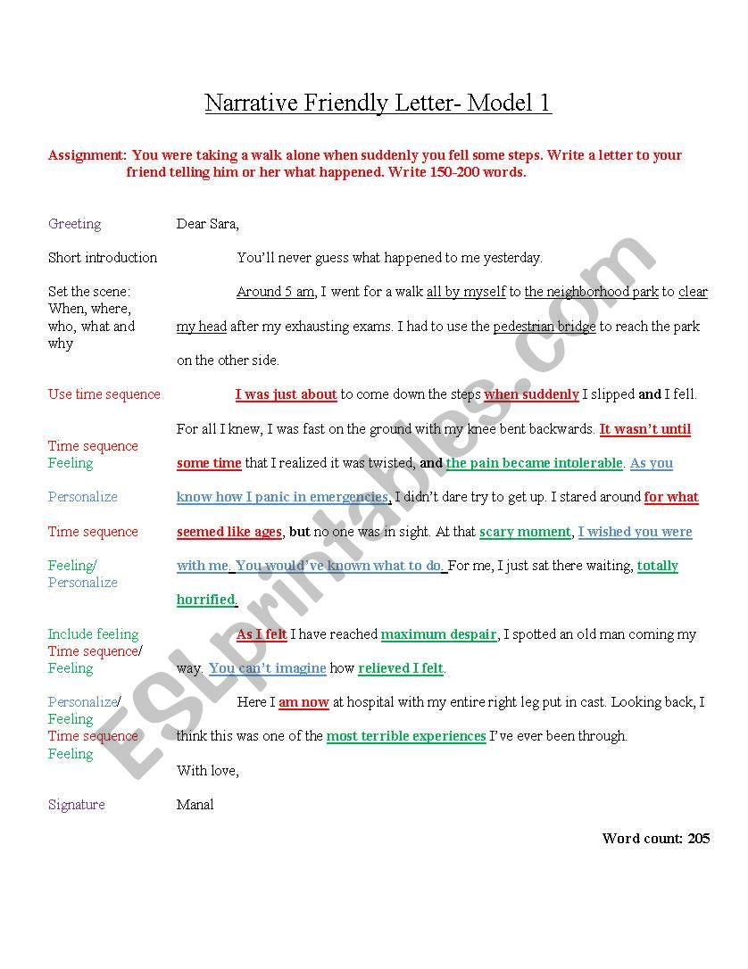Model Descriptive Friendly Letter for IGCSE ESL