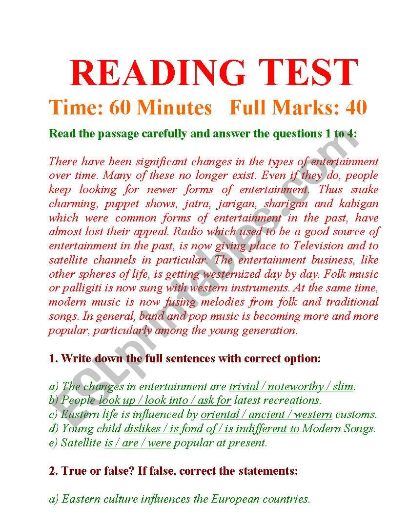 - READING TEST AND ANSWERING QUESTIONS - ESL Worksheet By Imdad