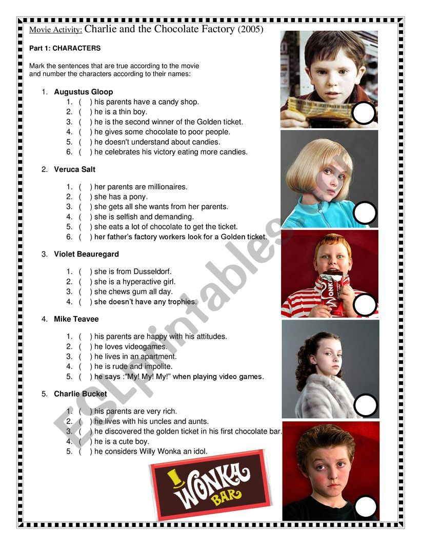 Movie activity: Charlie and the chocolate factory