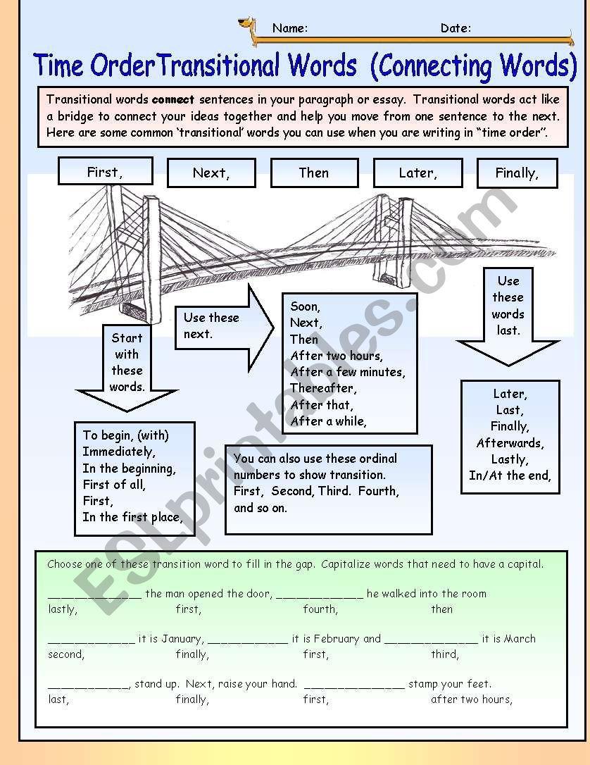 time order transitional words connecting words esl worksheet by dturner. Black Bedroom Furniture Sets. Home Design Ideas