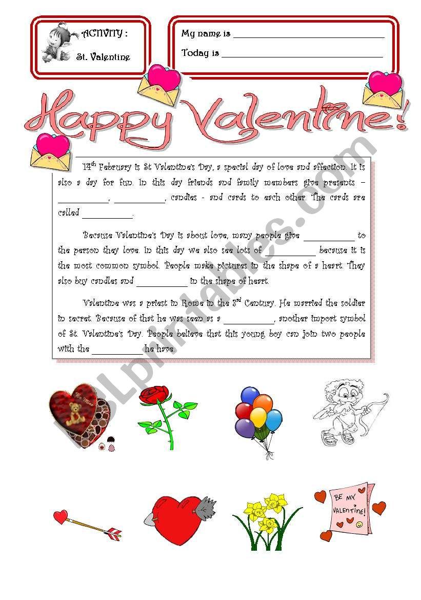 St. Valentine worksheet