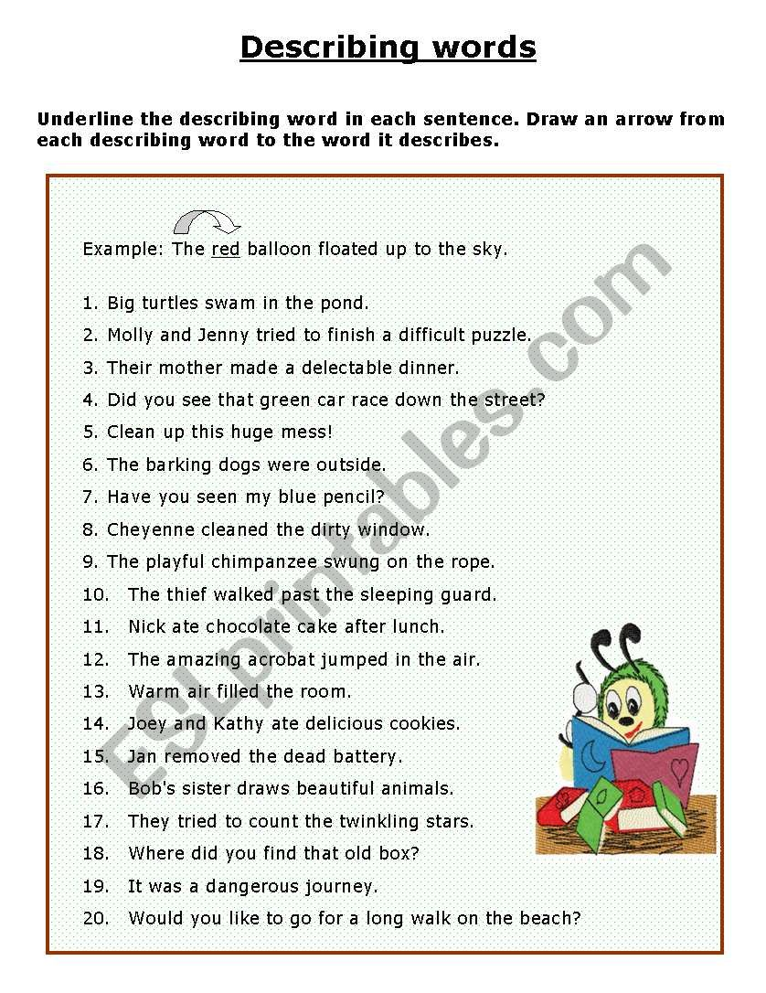 Adjectives/Describing words - ESL worksheet by Janet att
