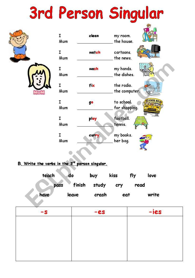 English Worksheets Simple Present 3rd Person Singular Spelling
