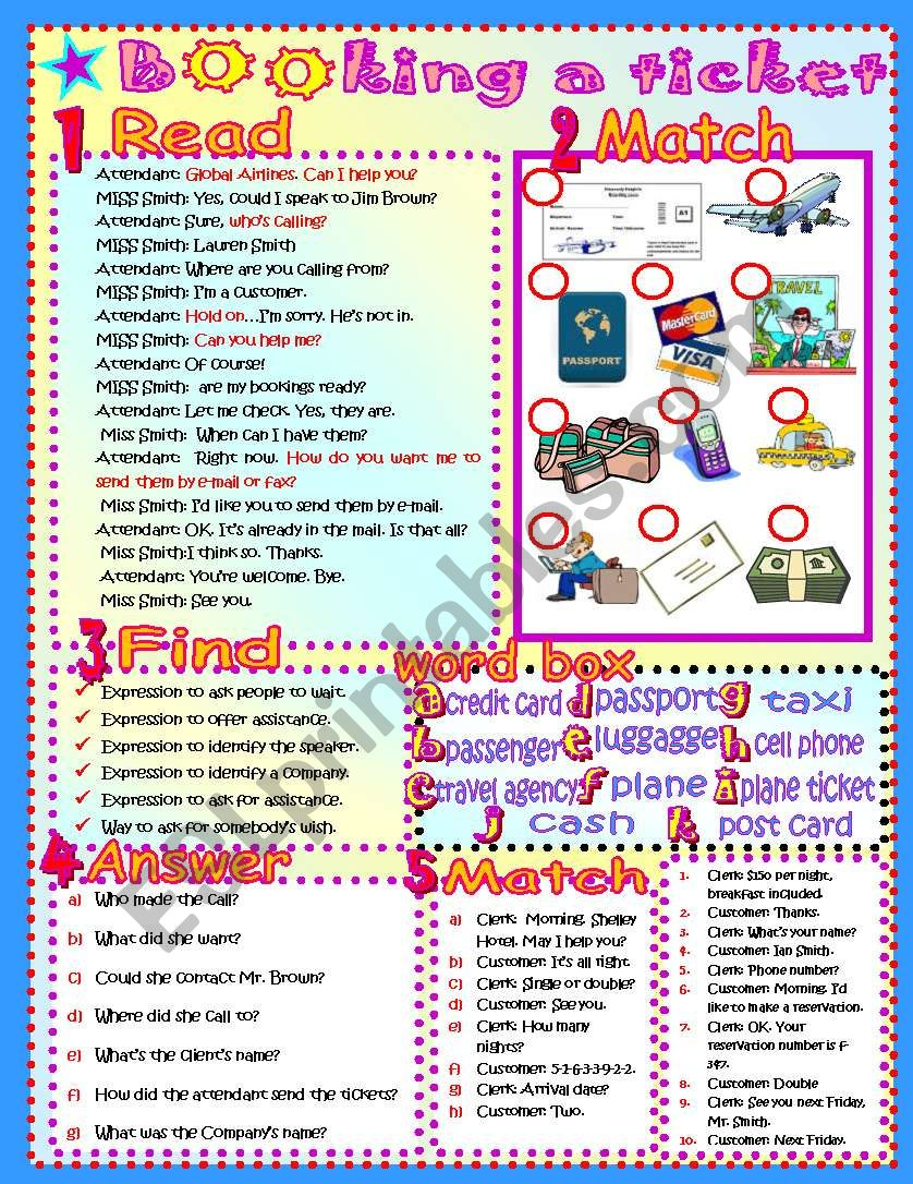booking a ticket! worksheet