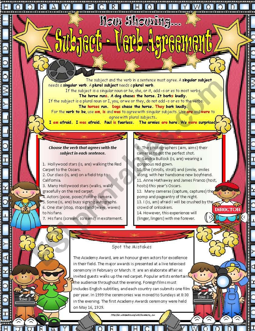 Subject -verb Agreement 2 ***EDITABLE *** ANSWER KEY INCLUDED