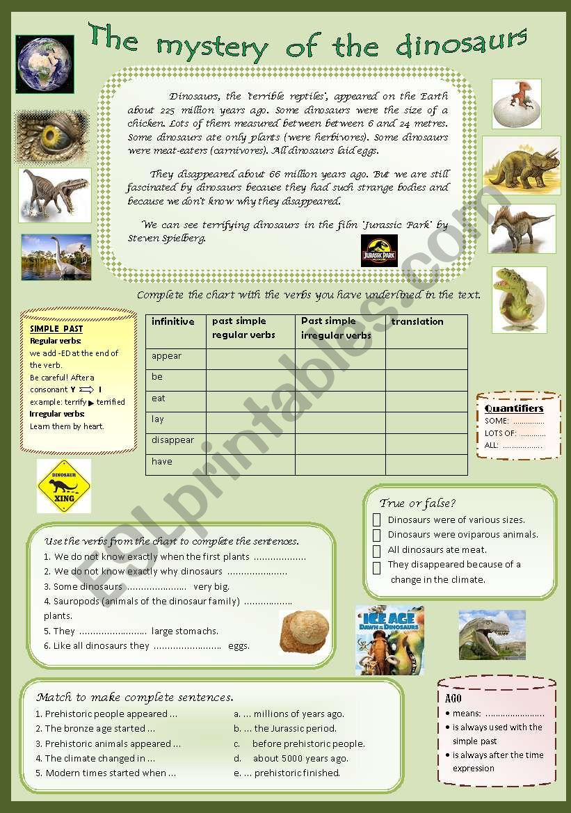 - Dinosaurs. Reading Comprehension And Past Simple For Beginners