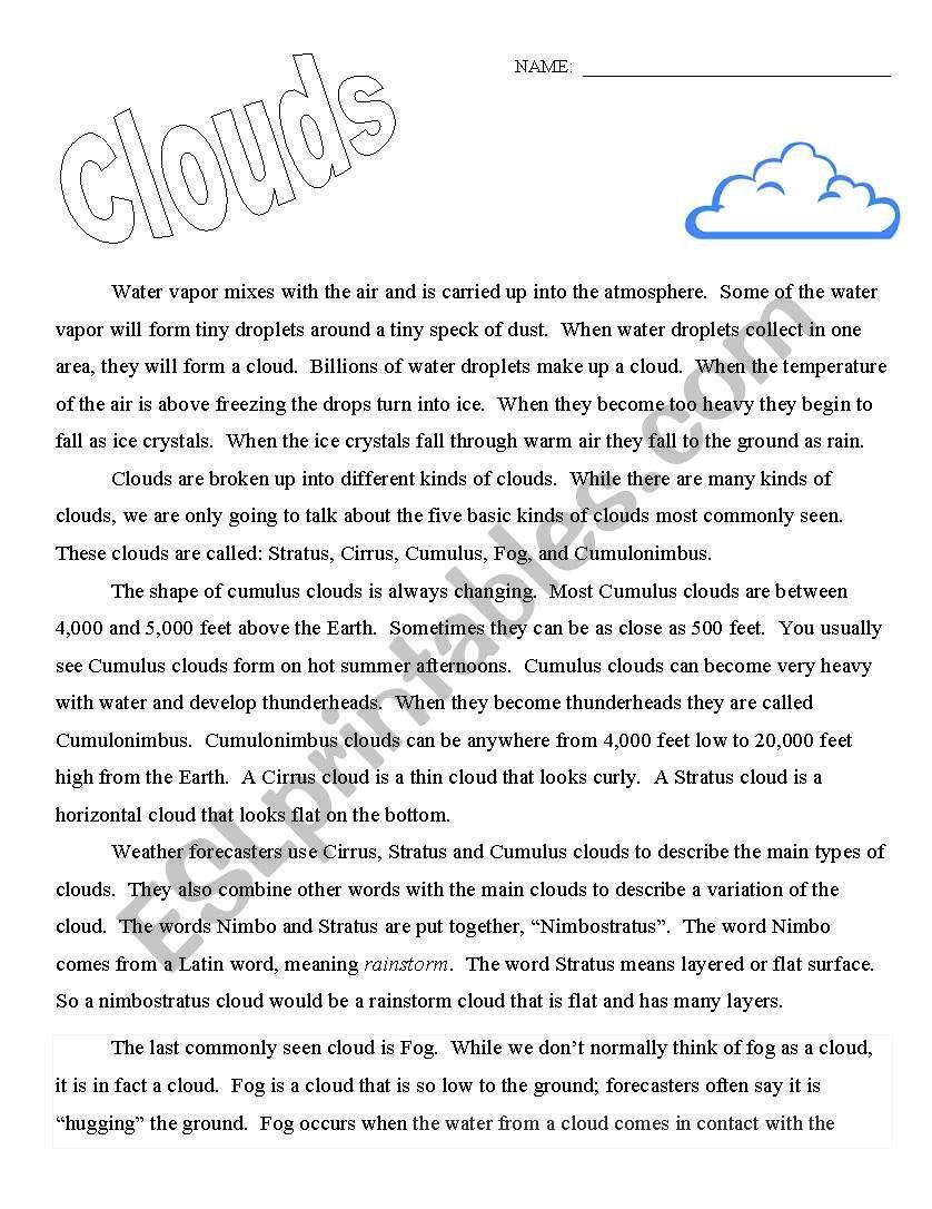 Worksheets Clouds Worksheet clouds esl worksheet by kpowless worksheet
