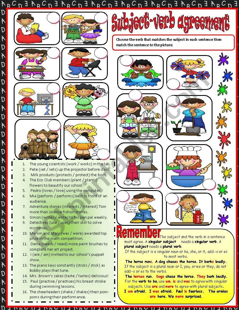 Subject verb agreement  1***EDITABLE***ANSWER KEY INCLUDED