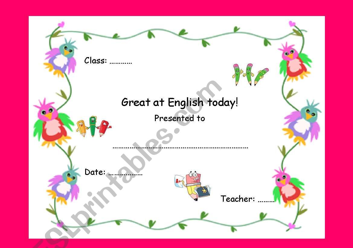 Great at English today Award worksheet