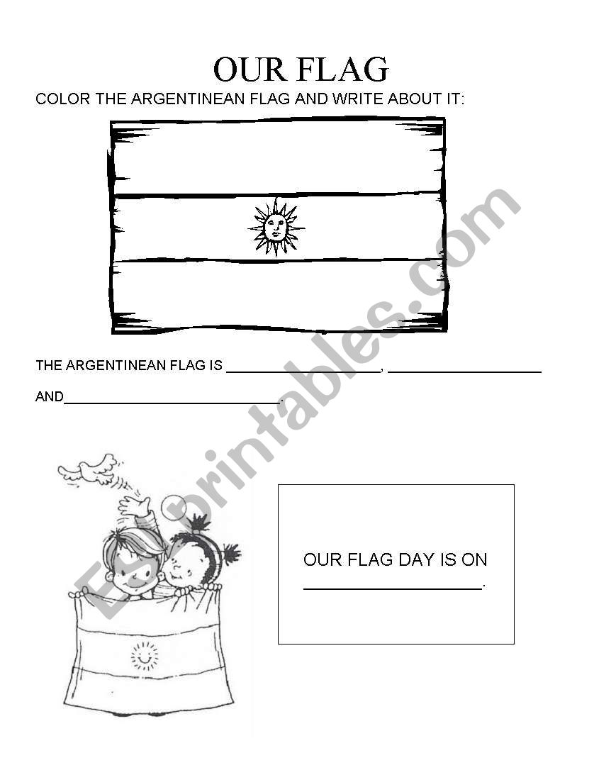 picture relating to Flag Day Printable Activities known as Flag Working day (Argentina) - ESL worksheet by way of gahe (F)