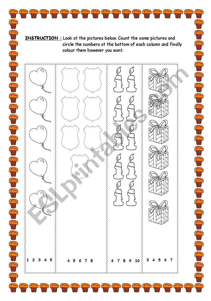 english worksheets birthday objects numbers. Black Bedroom Furniture Sets. Home Design Ideas