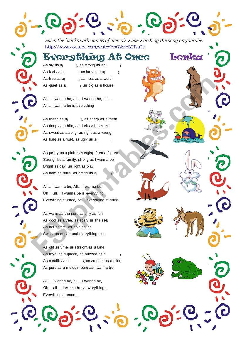 Everything At Once by Lenka-Learning Similes