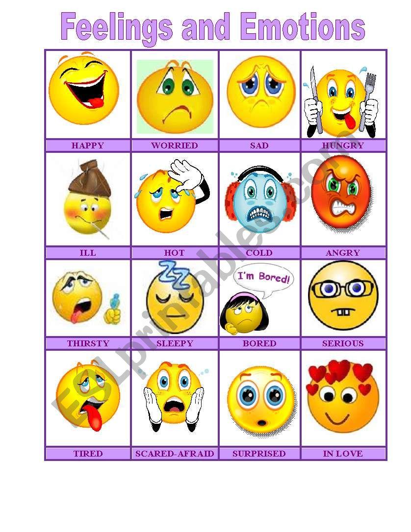 Feelings and emotions worksheets esl