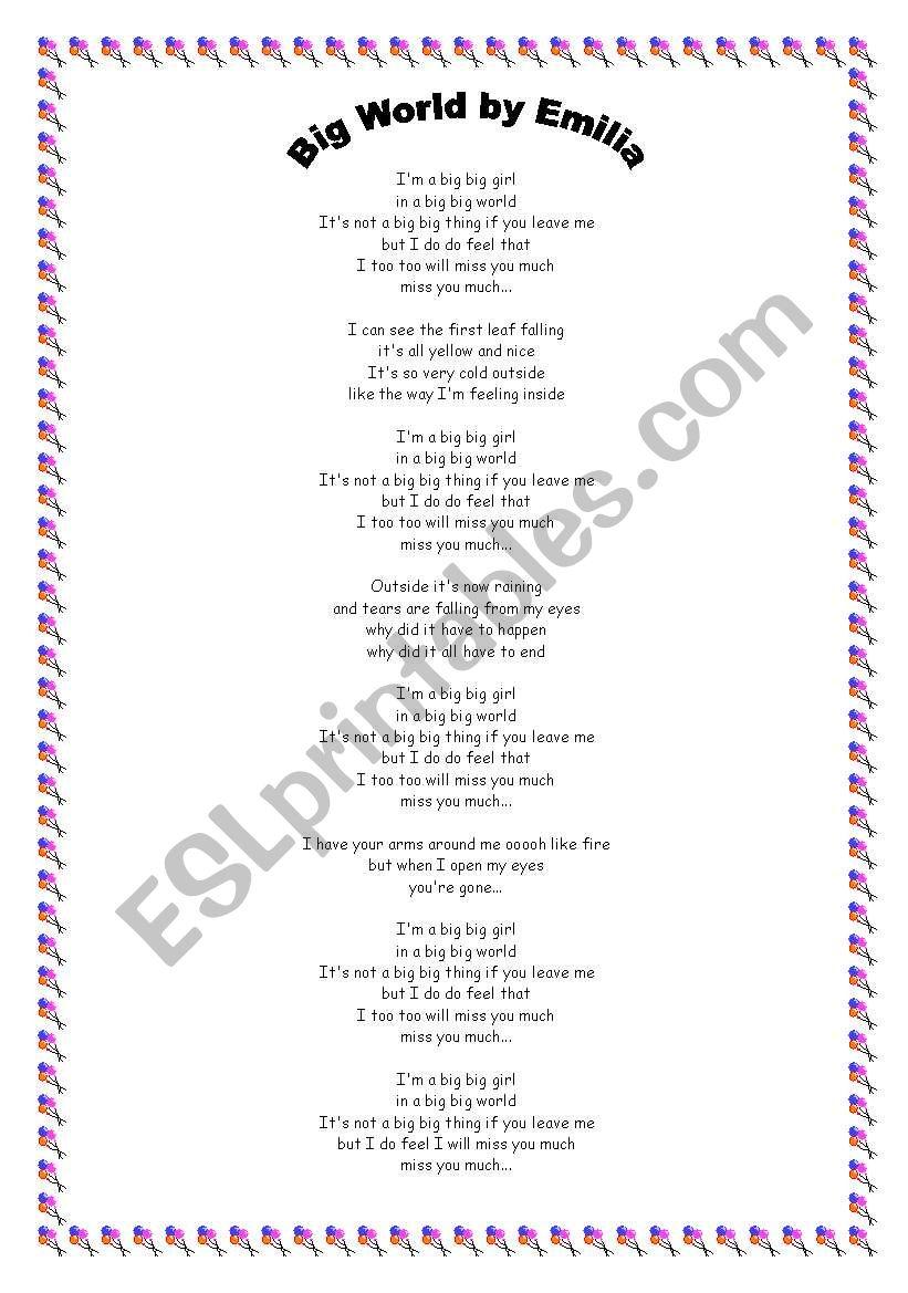 classroom song worksheet