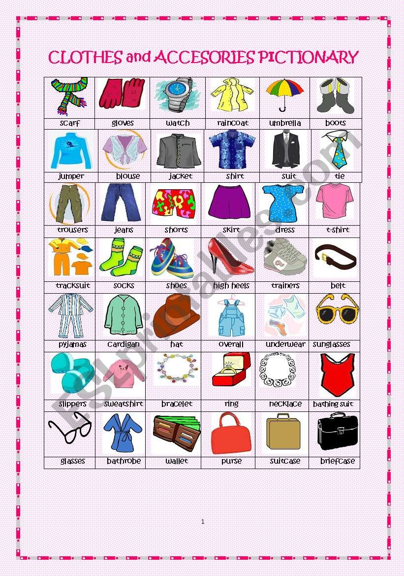 Clothes and Accessories Pictionary