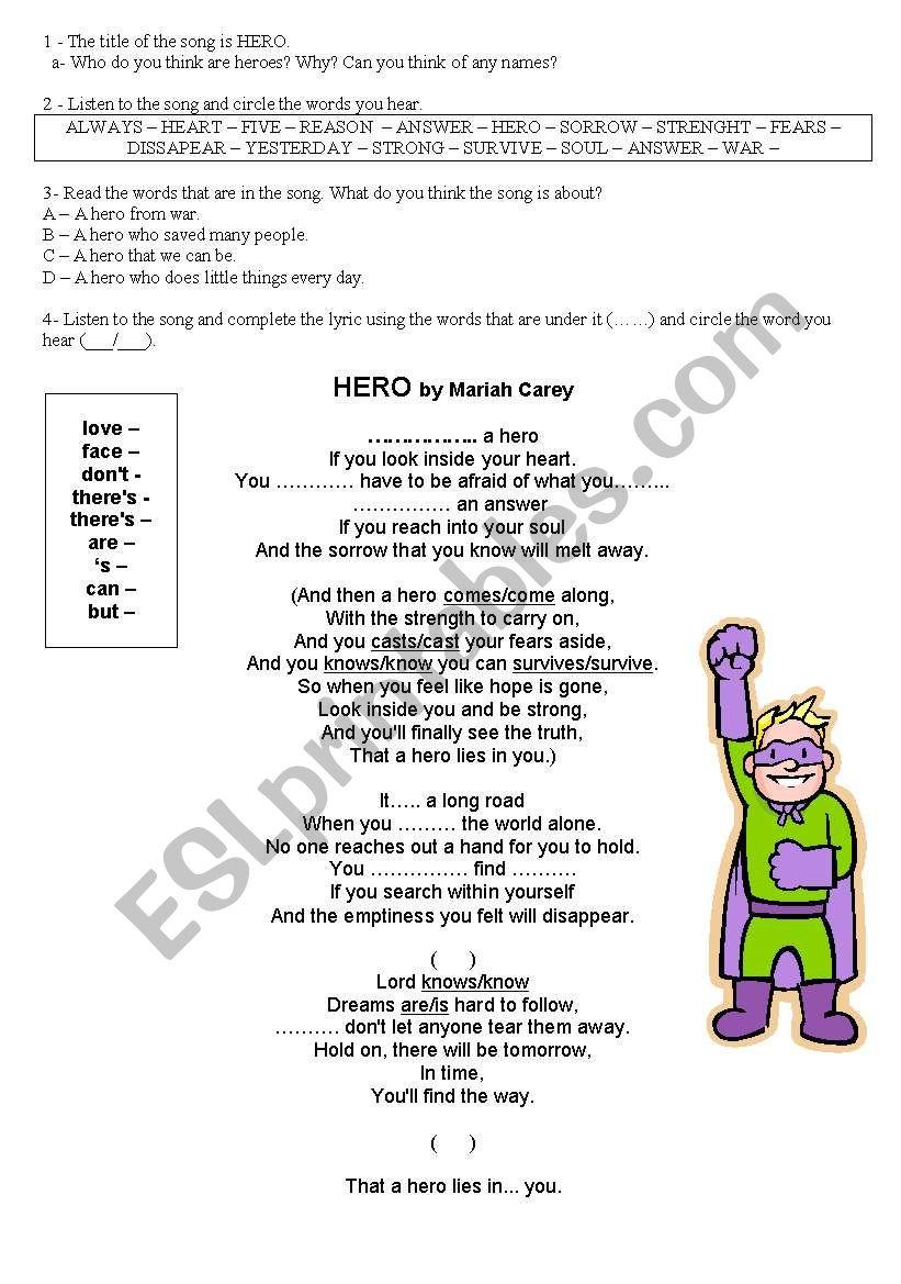 Heroes Part 1 worksheet