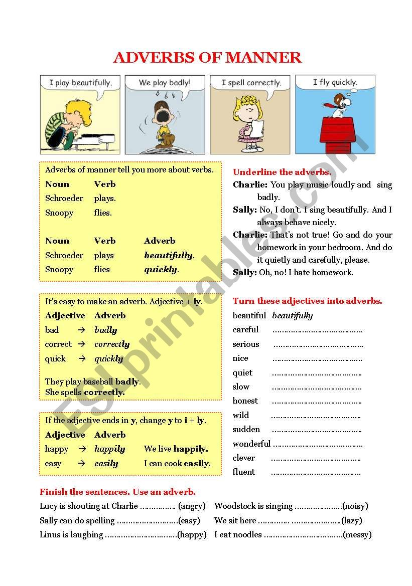 Grammar - Adverbs of manner worksheet