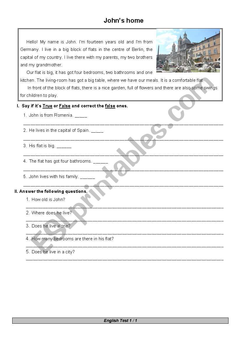 Test and questions worksheet
