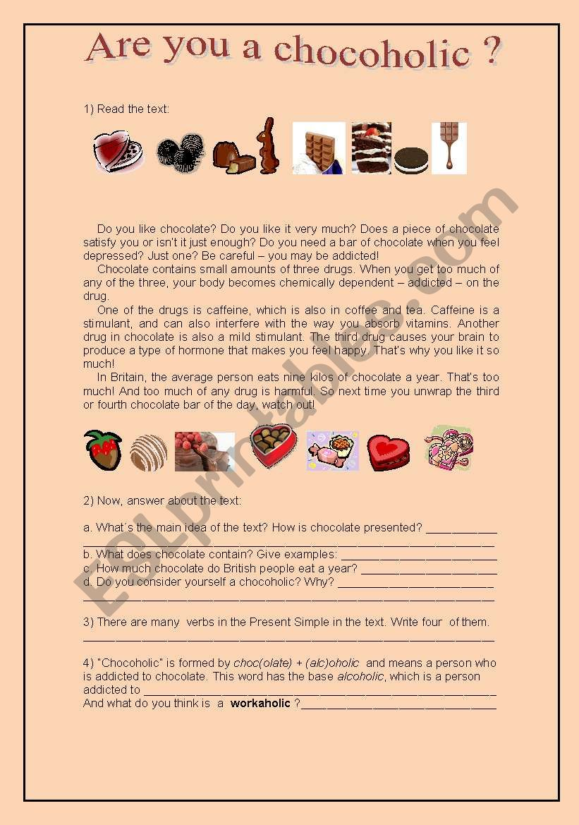 Are you a chocoholic? worksheet