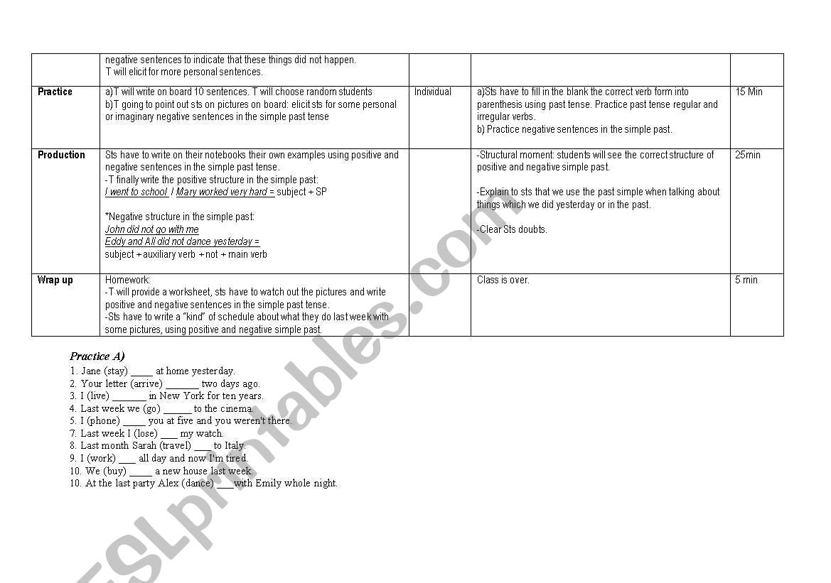 detailed lesson plan for simple past tense