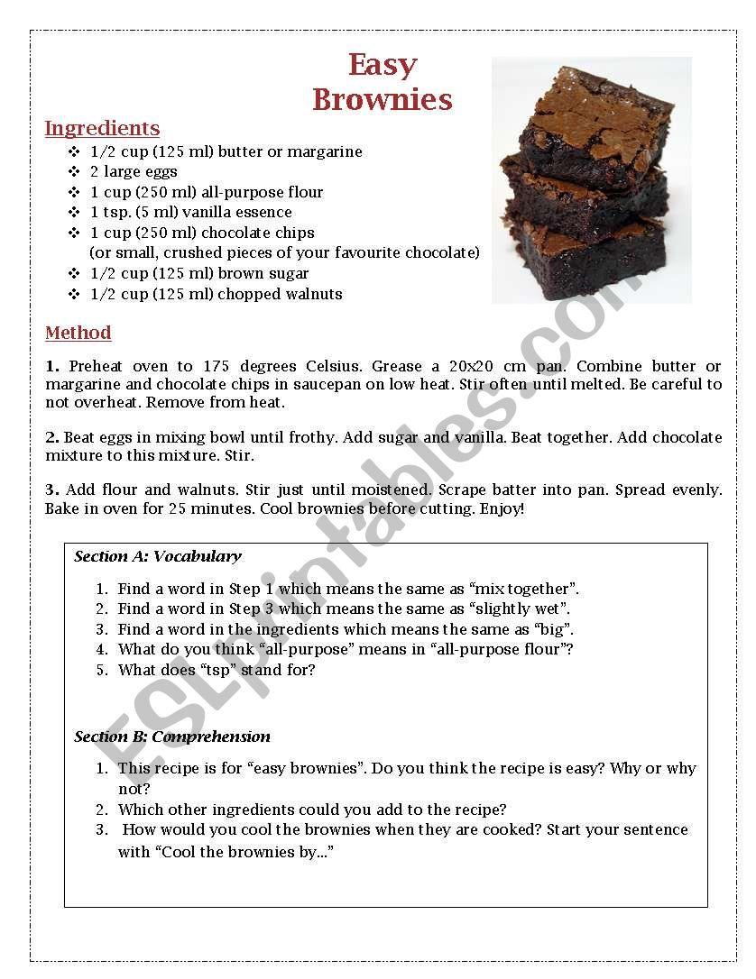 Easy Brownies Recipe - Comprehension