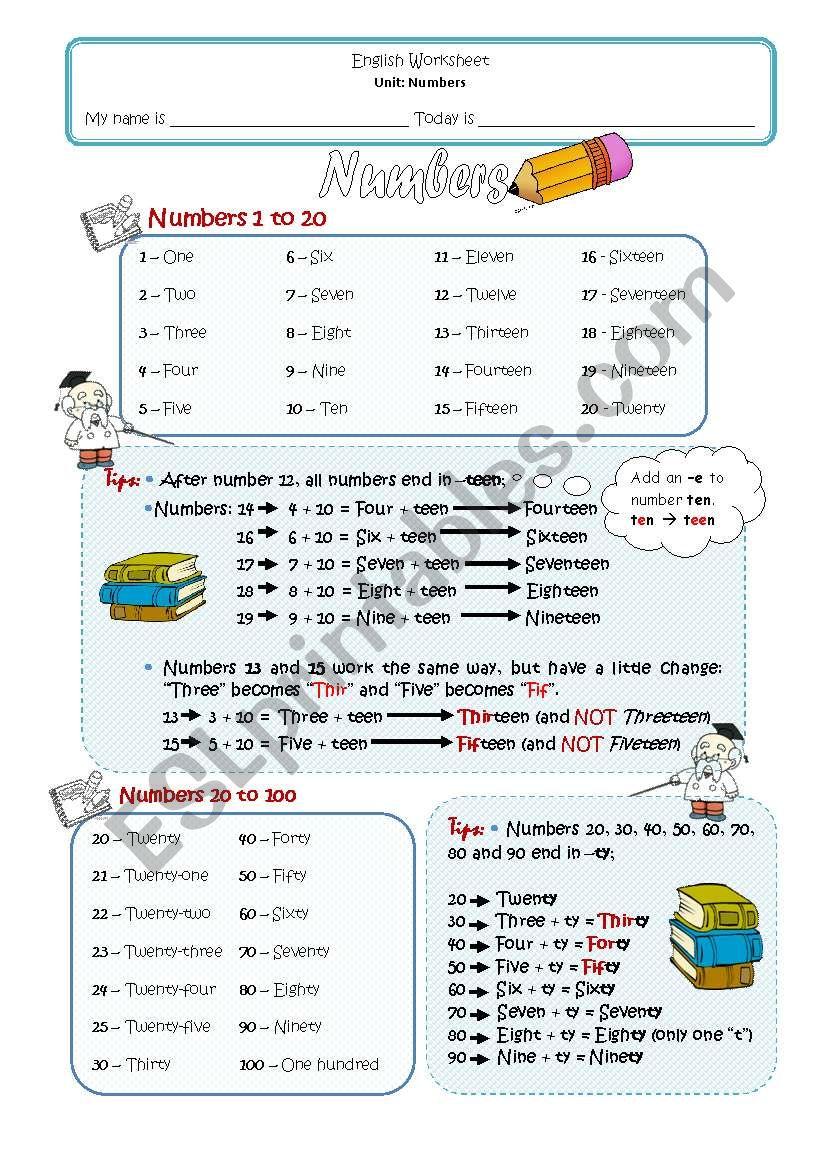 1-100 numbers worksheet